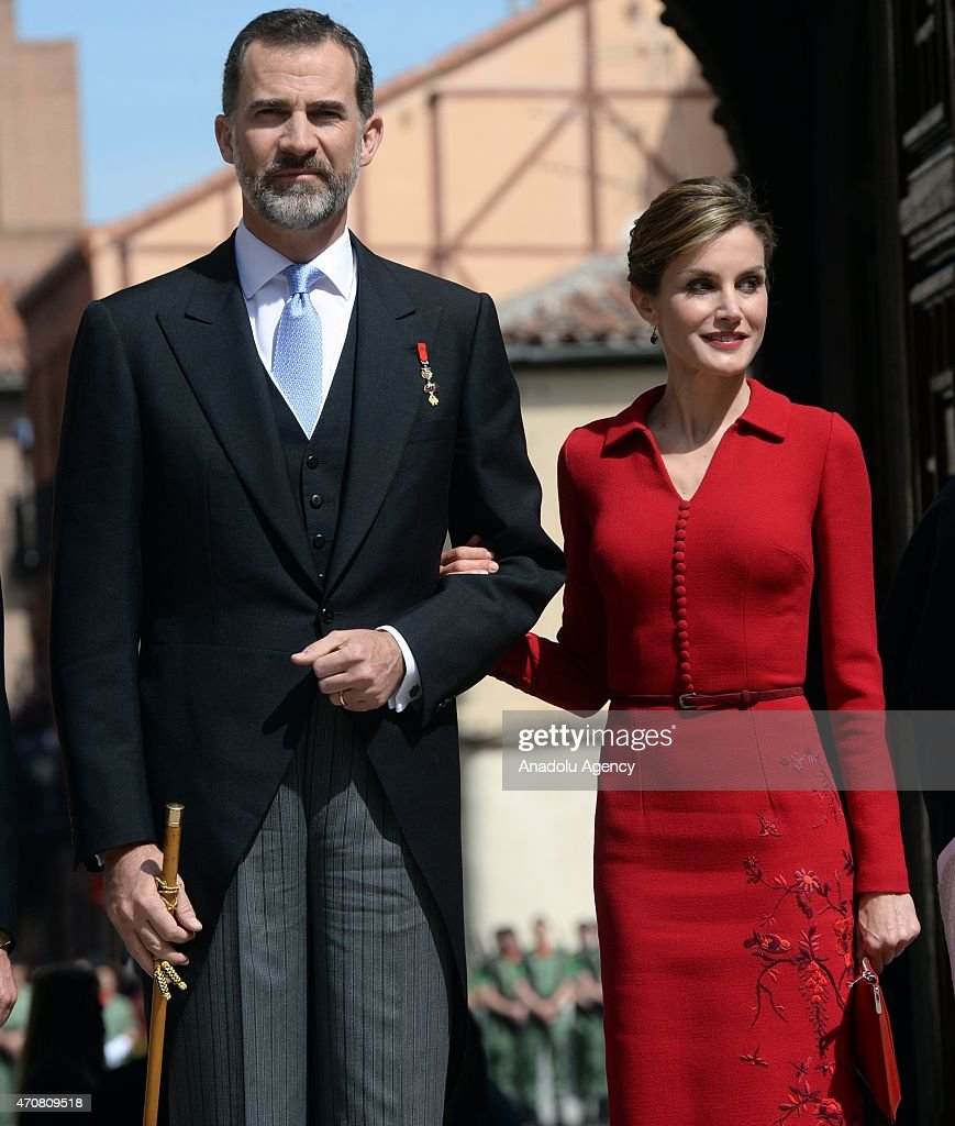 Spain's King Felipe VI and Queen Letizia arrive at the University of Alcala de Henares for the Cervantes Prize award ceremony in Madrid, Spain, on April 23, 2015. Spanish author Juan Goytisolo is presented with the Cervantes prize from Spain's King Felipe VI on Thursday April 23, 2015. The Cervantes Prize is awarded annually to honour the lifetime achievement of an outstanding writer in the Spanish language.