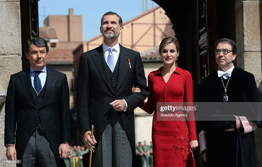 Spain's King Felipe VI (2nd R) and Queen Letizia arrive at the University of Alcala de Henares for the Cervantes Prize award ceremony in Madrid, Spain, on April 23, 2015. Spanish author Juan Goytisolo is presented with the Cervantes prize from Spain's King Felipe VI on Thursday April 23, 2015. The Cervantes Prize is awarded annually to honour the lifetime achievement of an outstanding writer in the Spanish language.
