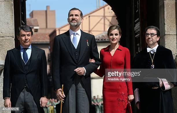 Spain's King Felipe VI and Queen Letizia arrive at the University of Alcala de Henares for the Cervantes Prize award ceremony in Madrid Spain on...