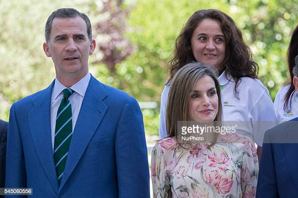 Spain's King Felipe VI and Queen Letizia of Spain during a ceremony held to present Iberdrola 2016 Scholarships at the Spanish company's headquarters...