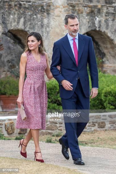 Spain's King Felipe VI and Queen Letizia talk with Joseph Borrell minister de Asuntos ExterioresUnion Europea y Cooperation de Espana at Carolina's...