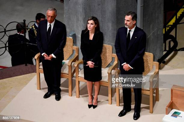 Spain's King Felipe VI and Spain's Queen Letizia and Portugal's President Marcelo Rebelo de Sousa attend a mass to commemorate victims of two...