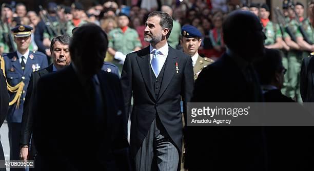 Spain's King Felipe VI arrives at the University of Alcala de Henares for the Cervantes Prize award ceremony in Madrid Spain on April 23 2015 Spanish...