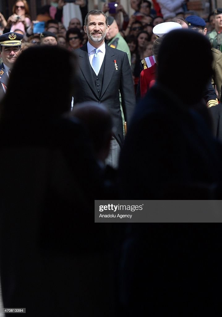 Spain's King Felipe VI arrives at the University of Alcala de Henares for the Cervantes Prize award ceremony in Madrid, Spain, on April 23, 2015. Spanish author Juan Goytisolo is presented with the Cervantes prize from Spain's King Felipe VI on Thursday April 23, 2015. The Cervantes Prize is awarded annually to honour the lifetime achievement of an outstanding writer in the Spanish language.