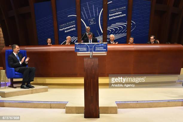 Spain's King Felipe VI attends a meeting at Parliamentary Assembly of the Council of Europe in Strasbourg, France on April 27, 2017.