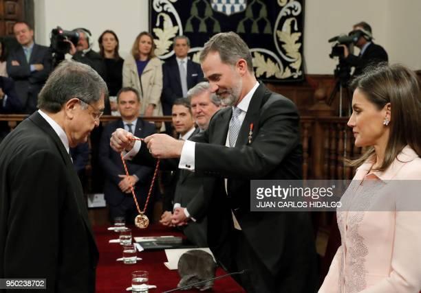 Spain´s king Felipe VI awards Nicaraguan writer Sergio Ramirez with the 2017 Miguel de Cervantes Literature Prize at the Alcala de Henares...