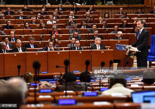 Spain's King Felipe VI delivers a speech at Parliamentary Assembly of the Council of Europe in Strasbourg, France on April 27, 2017.