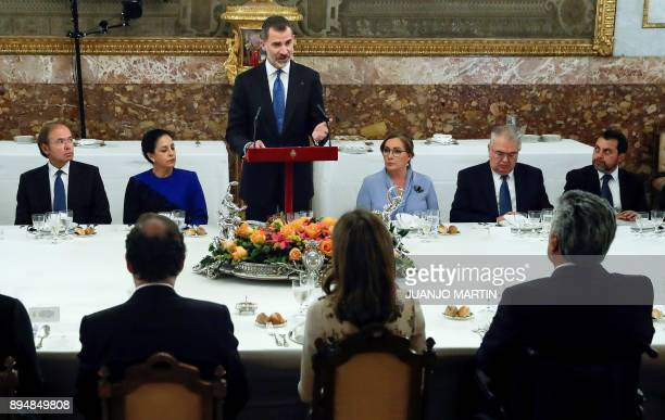 Spain's King Felipe VI delivers a speech during a formal lunch for Ecuador's President Lenin Moreno and his wife Rocio Gonzalez at the Royal Palace...