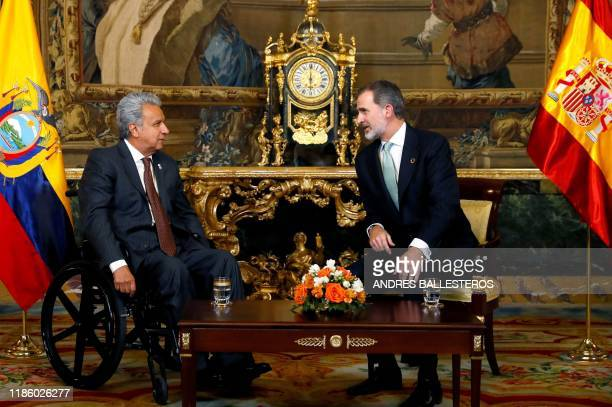 Spain's King Felipe VI meets with Ecuadorean president, Lenin Moreno, at the Royal Palace in Madrid during the UN Climate Change Conference COP25 on...