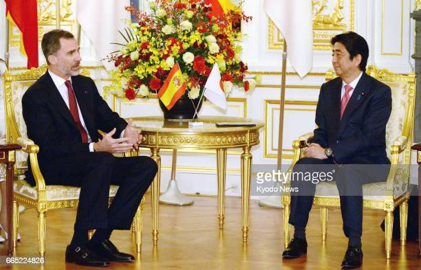 Spain's King Felipe VI meets with Japanese Prime Minister Shinzo Abe at the Akasaka Palace state guesthouse in Tokyo on April 6 2017 Spain's King...