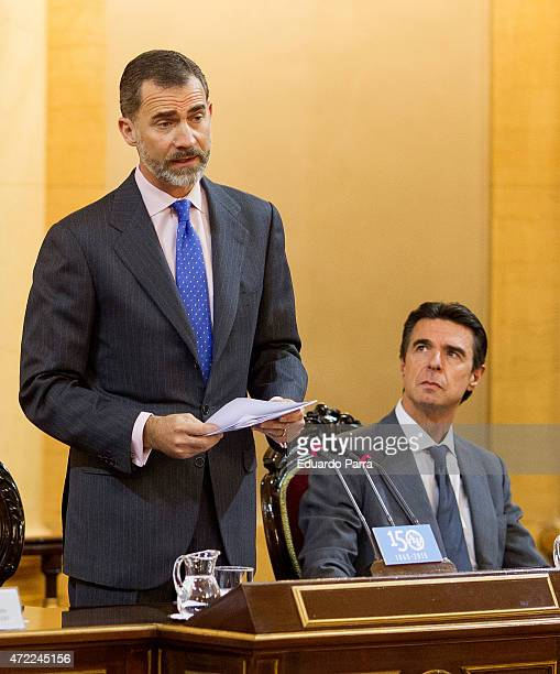 Spain's King Felipe VI of Spain and Minister of Industry Jose Manuel Soria attend the 150th Anniversary of UIT at Senate of Spain on May 5 2015 in...