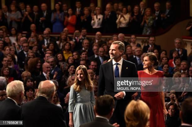 Spain's King Felipe VI, Queen Letizia and Leonor of Spain, Princess of Asturias arrive for the Princess of Asturias Awards ceremony at the Campoamor...