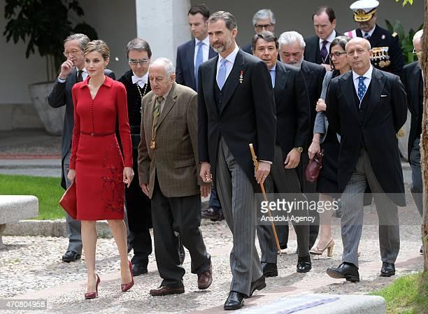 Spain's King Felipe VI Queen Letizia and Spanish writer Juan Goytisolo winner of the Cervantes prize arrive for the Cervantes Prize award ceremony at...