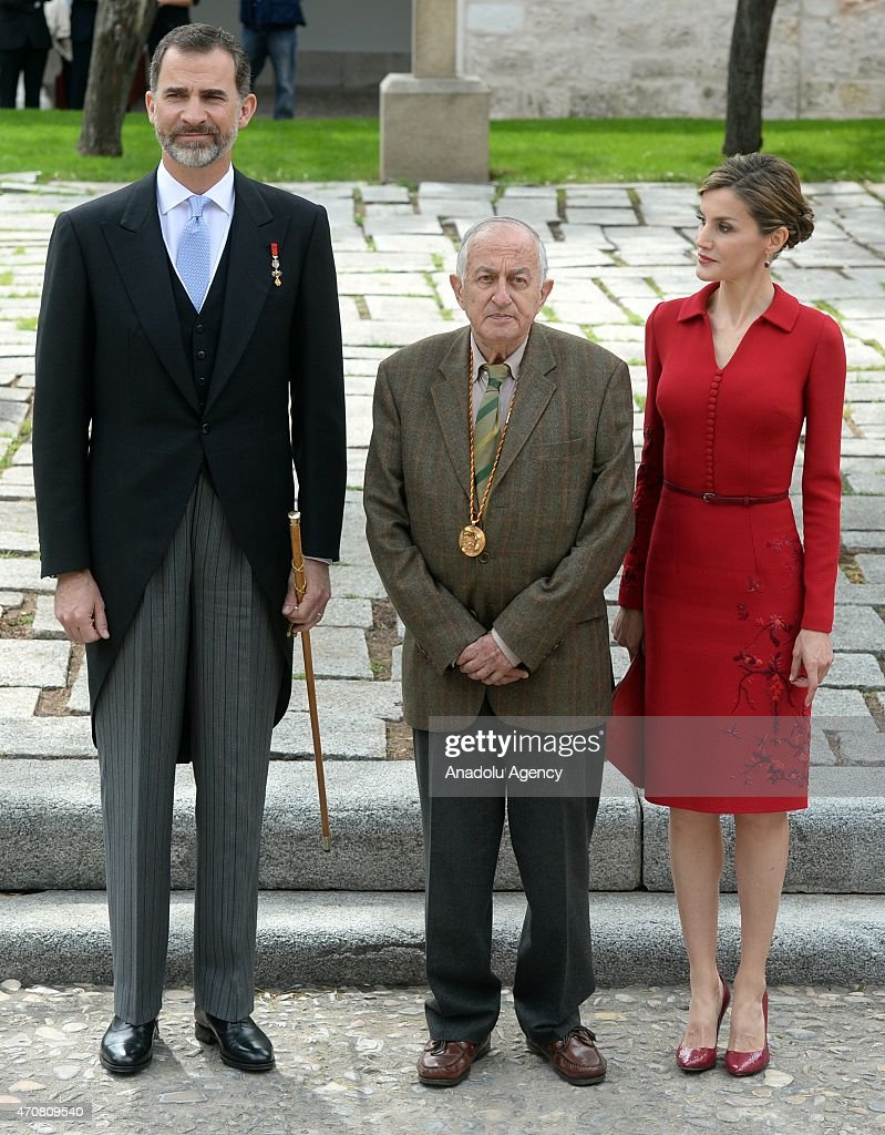 Spain's King Felipe VI, Queen Letizia and Spanish writer Juan Goytisolo, winner of the Cervantes prize, pose for photographers as they arrive at the University of Alcala de Henares for the Cervantes Prize award ceremony in Madrid, Spain, on April 23, 2015. Spanish author Juan Goytisolo is presented with the Cervantes prize from Spain's King Felipe VI on Thursday April 23, 2015. The Cervantes Prize is awarded annually to honour the lifetime achievement of an outstanding writer in the Spanish language.