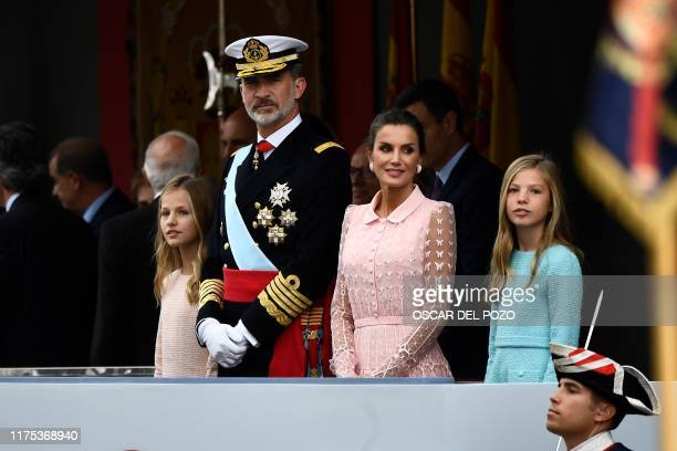 Spain´s King Felipe VI , Queen Letizia , princess Leonor and princess Sofia attend the Spanish National Day military parade in Madrid on October 12,...