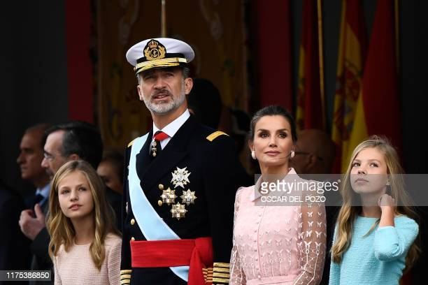Spain´s King Felipe VI Queen Letizia princess Leonor and princess Sofia attend the Spanish National Day military parade in Madrid on October 12 2019