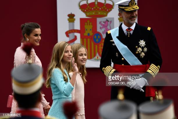 Spain´s King Felipe VI Queen Letizia princess Leonor and princess Sofia arrive to attend the Spanish National Day military parade in Madrid on...