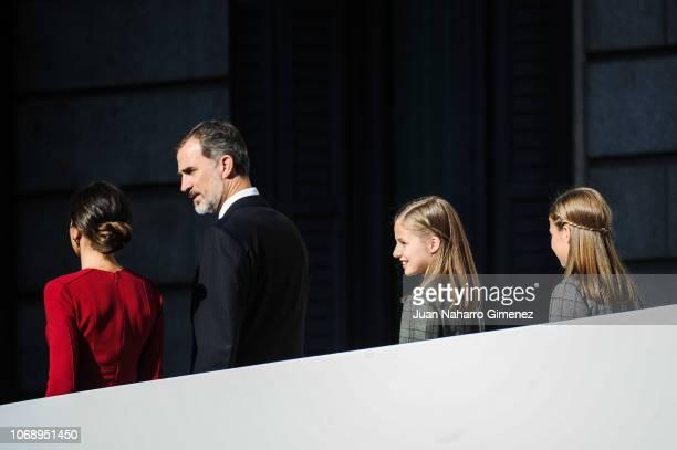 Spain's King Felipe VI Spain's Queen Letizia and Spain's Princess Leonor Spain's Princess Sofia attend a celebration marking 40 years of democracy in...