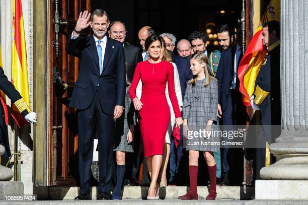 Spain's King Felipe VI Spain's Queen Letizia and Spain's Princess Leonor arrive to attend a celebration marking 40 years of democracy in Spain at the...
