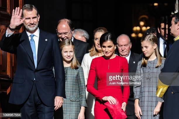 Spain's King Felipe VI Spain's Queen Letizia and Spain's Princess Leonor and Spain's Princess Sofia attend a celebration marking 40 years of...