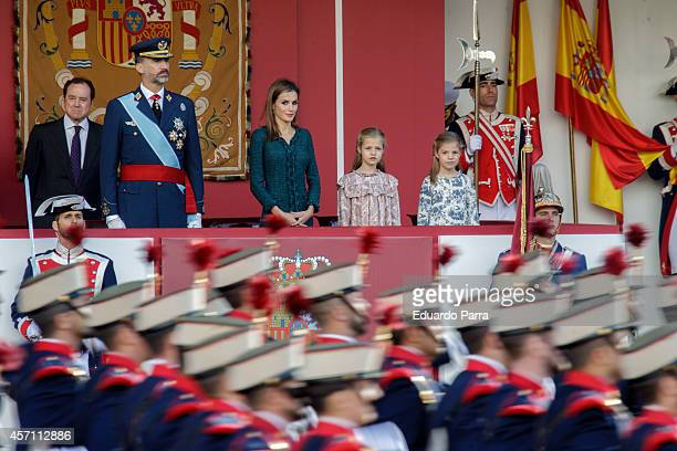 Spain's King Felipe VI Spain's Queen Letizia and Spain's princesses Leonor and Sofia attend the Spanish National Day military parade at Canovas del...