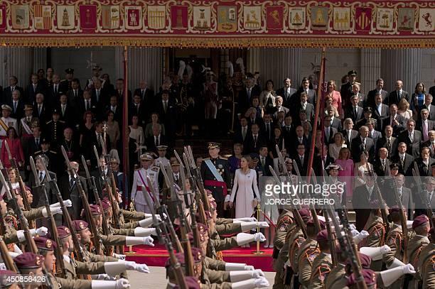 Spain's King Felipe VI Spain's Queen Letizia and Spanish Crown Princess of Asturias Leonor review troop at the Congress of Deputies Spain's lower...