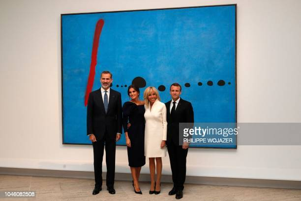 Spain's king Felipe VI Spain's Queen Letizia French president Emmanuel Macron and his wife Brigitte pose for a photograph as they visit the...