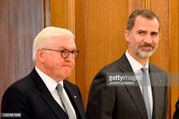 Spain´s King Felipe VI welcomes German President FrankWalter Steinmeier at the Zarzuela Palace in Madrid on October 24 2018