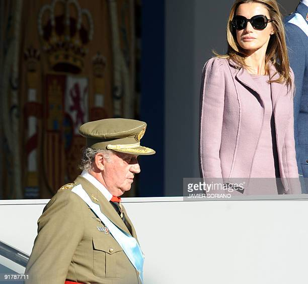 Spain's King Juan Carlos and Pricess Letizia watch the military parade during National Day celebrations on October 12 2009 in Madrid AFP PHOTO/JAVIER...