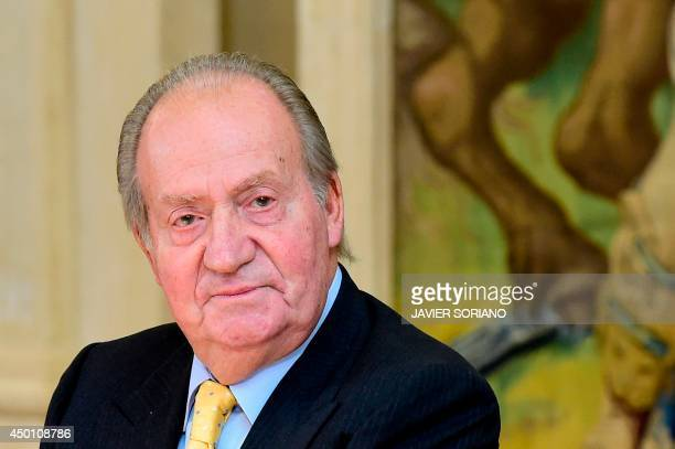 Spain's King Juan Carlos attends the annual meeting of the board of the Carolina Foundation at the Zarzuela Palace in Madrid on June 5 2014 Spain's...