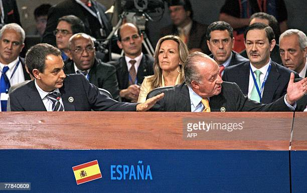 Spain's King Juan Carlos de Borbon shouts at Venezuelan President Hugo Chavez why don't you shut up after Chavez interrupted the speech of Jose Luis...
