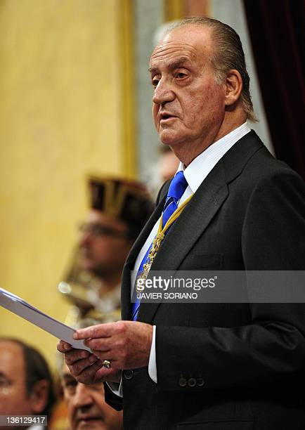 Spain's King Juan Carlos delivers a speech during the first Parliament session with the new rightwing majority in Madrid on December 27 2011 AFP...