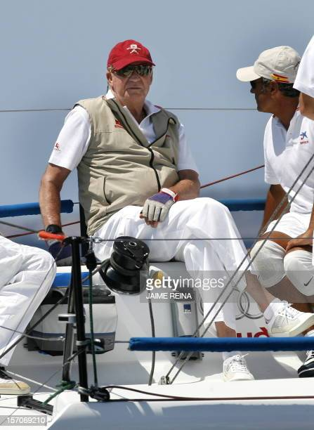 Spain's King Juan Carlos I sails on board of the ship Bribon on the second day of the Copa del Rey regatta in Palma de Mallorca on August 04 2009 The...