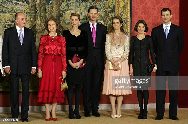 Spain's King Juan Carlos Queen Sofia daughter Cristina her husband Inaki Urdangarin daughter Elena Letizia and her husband Prince Felipe pose before...