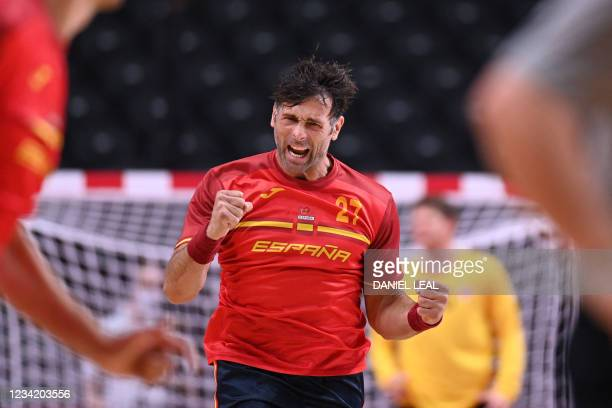 Spain's left back Antonio Garcia celebrates after scoring during the men's preliminary round group A handball match between Spain and Norway of the...