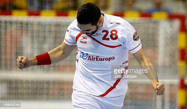 Spain's left wing Valero Rivera celebrates after scoring during the 23rd Men's Handball World Championships round of 16 match Serbia vs Spain at the...