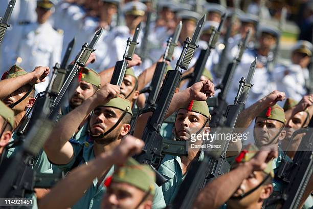 Spain's Legion troops parade during Armed forces day on May 29 2011 in Malaga Spain