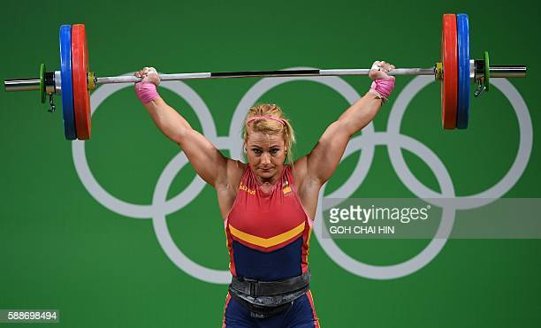 Spain's Lidia Valentin Perez competes during the women's weightlifting 75kg event during the Rio 2016 Olympics Games in Rio de Janeiro on August 12...