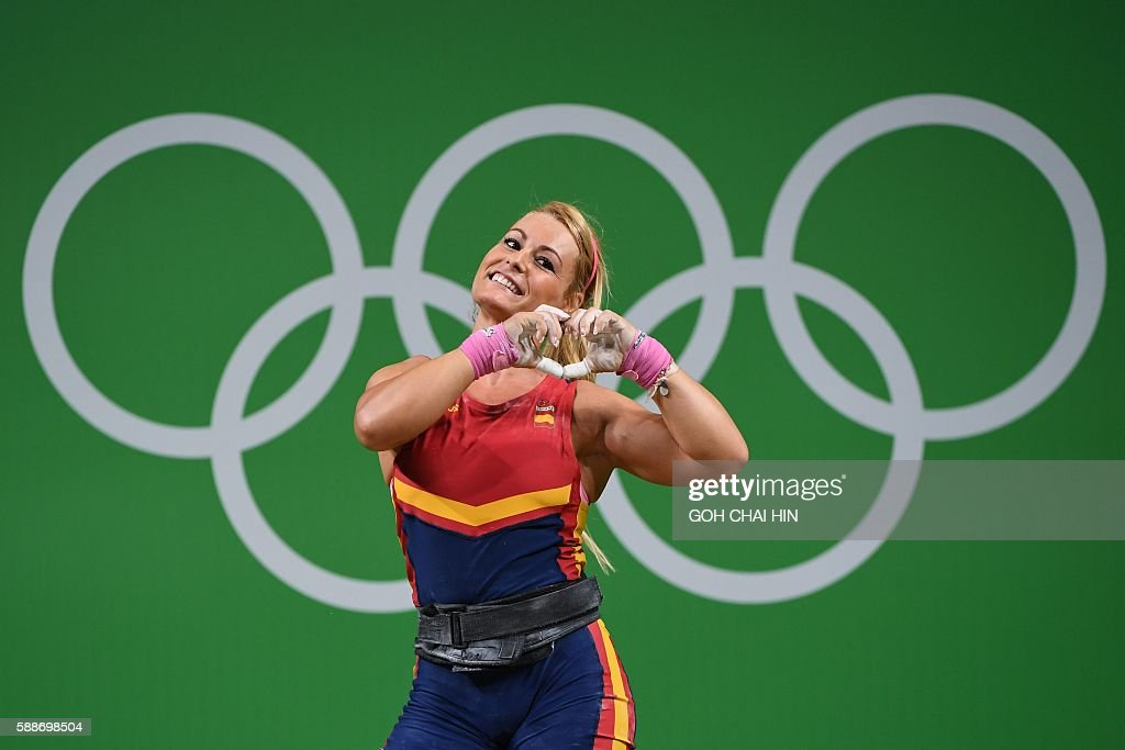 Spainu0027s Lidia Valentin Perez Gestures During The Womenu0027s Weightlifting 75kg  Event During The Rio 2016 Olympics