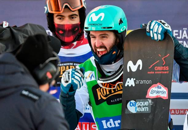 Spain's Lucas Eguibar reacts after winning the men's big final at the FIS Snowboard Cross World Championships in Idre, Sweden, on February 11, 2021....