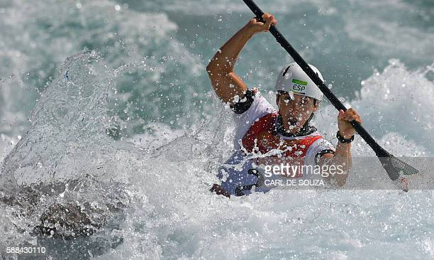 Spain's Maialen Chourraut competes in the Women's K1 semifinal kayak slalom competition at the Whitewater stadium during the Rio 2016 Olympic Games...