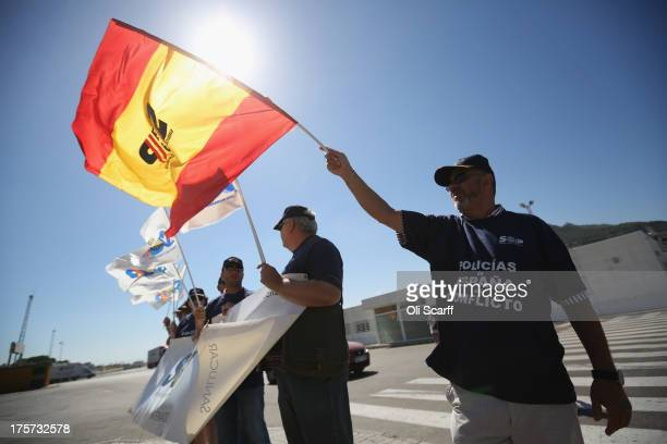 Spain's main police union SUP stage a demonstration outside border with Gibraltar on August 7 2013 in La Linea de la Concepcion Spain Following talks...
