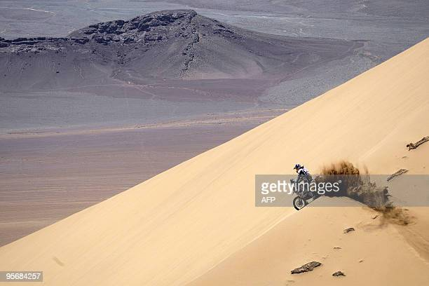 Spain's Marc Coma rides his KTM during the 8th stage of the Dakar 2010 between Antofagasta and Copiapo Chile on January 10 2010 Chile's Fransisco...