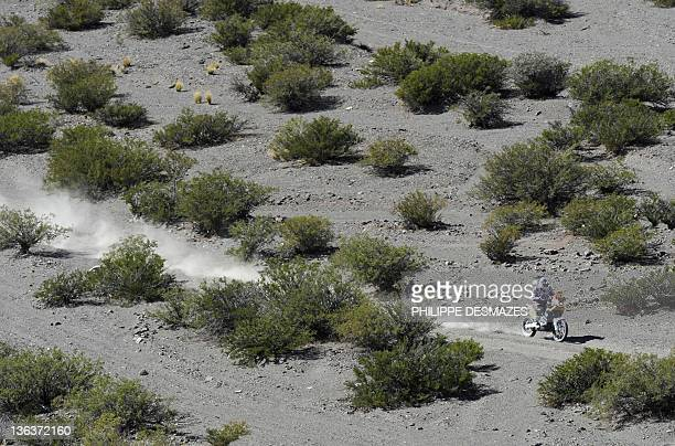 Spain's Marc Coma rides his KTM during the Stage 3 of the 2012 Dakar between San Rafael Mendoza province and San Juan San Juan province Argentina on...