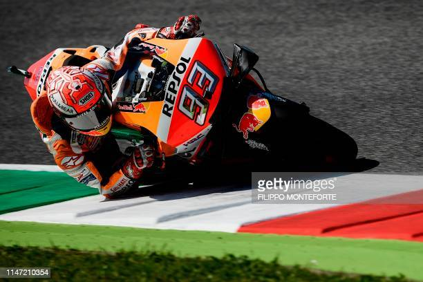 TOPSHOT Spain's Marc Marquez rides his Honda during free practice 3 ahead the Italian Moto GP Grand Prix at the Mugello race track on June 1 2019 in...