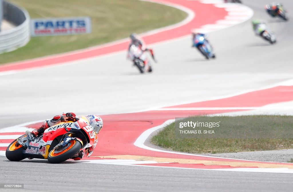 Spain's Marc Marquez (93) who finished first, turns the corner in the 2016 Grand Prix of the Americas MotoGP race at Circuit of the Americas, in Austin, Texas on April 10, 2016. / AFP / Thomas B. Shea
