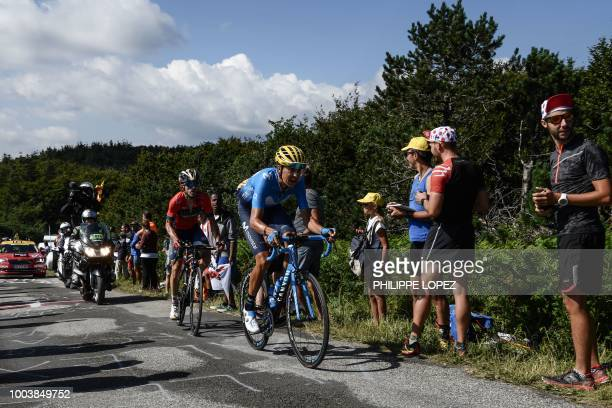 Spain's Marc Soler and Spain's Jon Izagirre ride during their breakaway in the 15th stage of the 105th edition of the Tour de France cycling race...