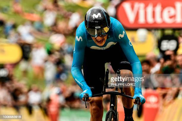 Spain's Marc Soler crosses the finish line of the 20th stage of the 105th edition of the Tour de France cycling race a 31kilometer individual...