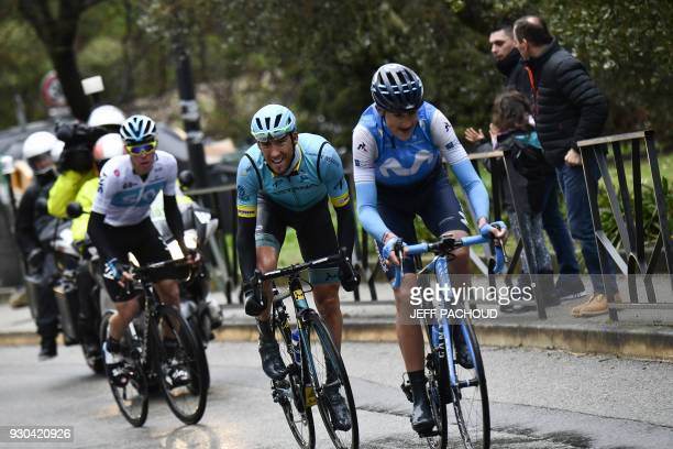 Spain's Marc Soler Spain's Omar Fraile and Spain's David De La Cruz ride a breakaway during the 110 km eighth and last stage of the 76th edition of...