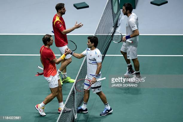 Spain's Marcel Granollers and Spain's Rafael Nadal shake hands with Argentina's Leonardo Mayer and Argentina's Maximo Gonzalez after winning the...